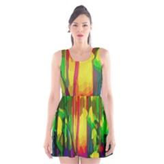 Abstract Vibrant Colour Botany Scoop Neck Skater Dress by Celenk