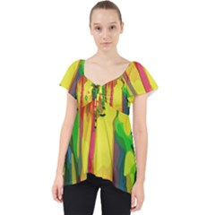 Abstract Vibrant Colour Botany Lace Front Dolly Top