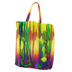 Abstract Vibrant Colour Botany Giant Grocery Zipper Tote