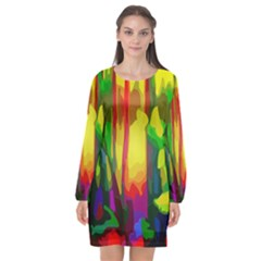 Abstract Vibrant Colour Botany Long Sleeve Chiffon Shift Dress  by Celenk