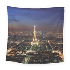 Paris At Night Square Tapestry (large) by Celenk