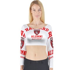 Harvard Alumni Just Kidding Long Sleeve Crop Top by Celenk