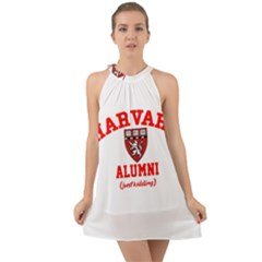 Harvard Alumni Just Kidding Halter Tie Back Chiffon Dress by Celenk