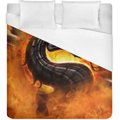 Dragon And Fire Duvet Cover (king Size) by Celenk