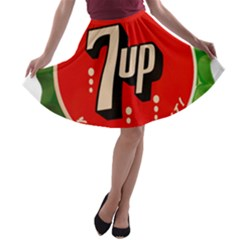 Fresh Up With  7 Up Bottle Cap Tin Metal A Line Skater Skirt by Celenk