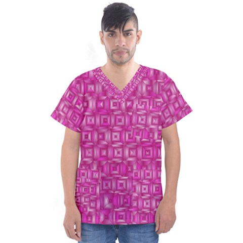 Classic Blocks,pink Men s V-neck Scrub Top by MoreColorsinLife