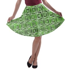 Classic Blocks,green A Line Skater Skirt by MoreColorsinLife