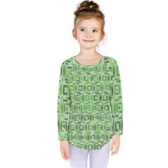 Classic Blocks,green Kids  Long Sleeve Tee by MoreColorsinLife