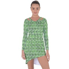 Classic Blocks,green Asymmetric Cut Out Shift Dress by MoreColorsinLife