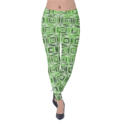 Classic Blocks,green Velvet Leggings