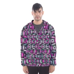 Classic Blocks,pink Combo Hooded Wind Breaker (men) by MoreColorsinLife
