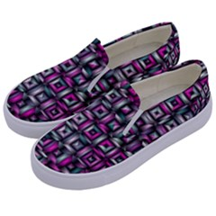 Classic Blocks,pink Combo Kids  Canvas Slip Ons by MoreColorsinLife