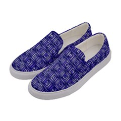 Classic Blocks,blue Women s Canvas Slip Ons by MoreColorsinLife