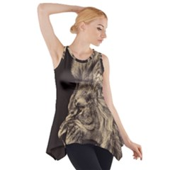 Angry Male Lion Side Drop Tank Tunic