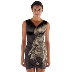 Angry Male Lion Wrap Front Bodycon Dress