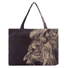 Angry Male Lion Zipper Medium Tote Bag by Celenk