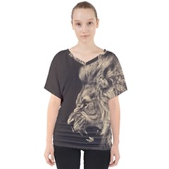 Angry Male Lion V Neck Dolman Drape Top