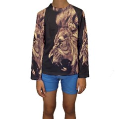 Angry Male Lion Gold Kids  Long Sleeve Swimwear