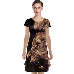 Angry Male Lion Gold Cap Sleeve Nightdress