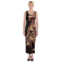 Angry Male Lion Gold Fitted Maxi Dress