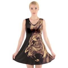 Angry Male Lion Gold V Neck Sleeveless Skater Dress