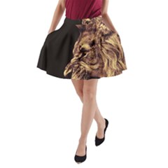 Angry Male Lion Gold A Line Pocket Skirt