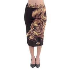 Angry Male Lion Gold Midi Pencil Skirt