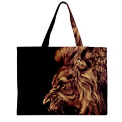 Angry Male Lion Gold Medium Tote Bag