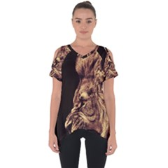 Angry Male Lion Gold Cut Out Side Drop Tee