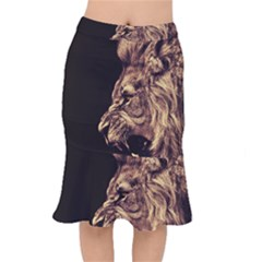 Angry Male Lion Gold Mermaid Skirt
