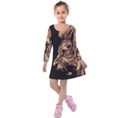 Angry Male Lion Gold Kids  Long Sleeve Velvet Dress