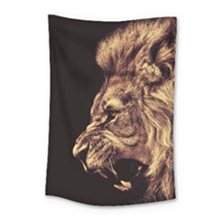 Angry Male Lion Gold Small Tapestry