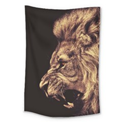 Angry Male Lion Gold Large Tapestry