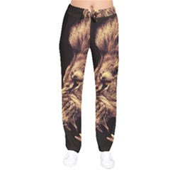 Angry Male Lion Gold Drawstring Pants