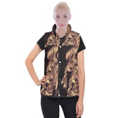 Angry Male Lion Gold Women s Button Up Puffer Vest
