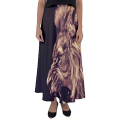 Angry Male Lion Gold Flared Maxi Skirt