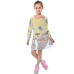 Panda Typography Kids  Long Sleeve Velvet Dress