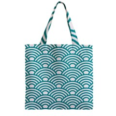 Art Deco Teal Zipper Grocery Tote Bag by 8fugoso