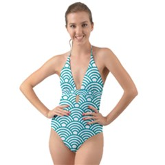 Art Deco Teal Halter Cut-out One Piece Swimsuit