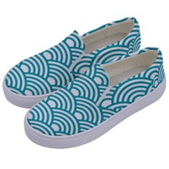 Art Deco Teal Kids  Canvas Slip Ons by 8fugoso