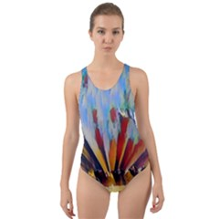 3abstractionism Cut Out Back One Piece Swimsuit by 8fugoso