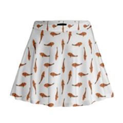 Koi Fishes Motif Pattern Mini Flare Skirt by dflcprintsclothing