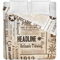 Vintage Newspapers Headline Typography Duvet Cover Double Side (king Size)