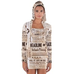 Vintage Newspapers Headline Typography Long Sleeve Hooded T-shirt by yoursparklingshop