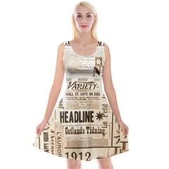 Vintage Newspapers Headline Typography Reversible Velvet Sleeveless Dress by yoursparklingshop