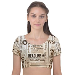 Vintage Newspapers Headline Typography Velvet Crop Top by yoursparklingshop