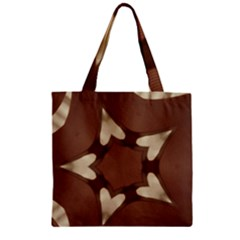 Chocolate Brown Kaleidoscope Design Star Zipper Grocery Tote Bag by yoursparklingshop