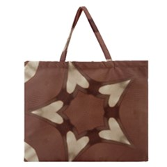 Chocolate Brown Kaleidoscope Design Star Zipper Large Tote Bag by yoursparklingshop