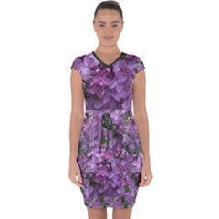 Purple Flowers Cotton Capsleeve Drawstring Dress