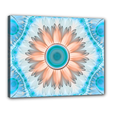 Clean And Pure Turquoise And White Fractal Flower Canvas 20  X 16  by jayaprime